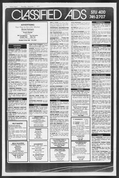 Daily Trojan, Vol. 72, No. 48, December 01, 1977