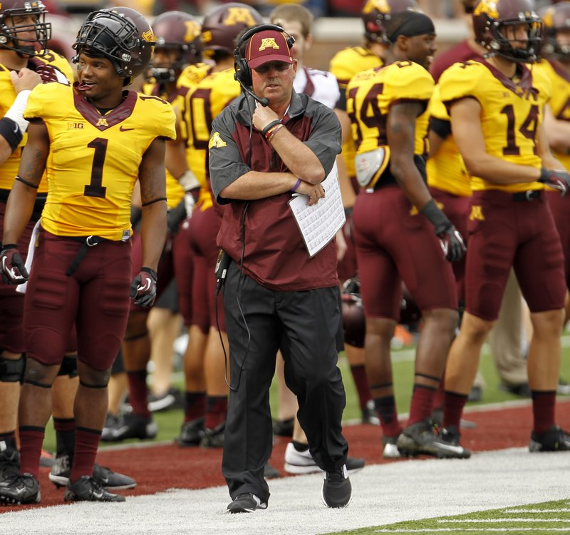 """. <p>2. (tie) JERRY KILL <p>If this were the NHL, they�d say he was an unhealthy scratch because of an upper body injury. (unranked) <p><b><a href=\'http://www.twincities.com/sports/ci_24252334/minnesota-gophers-footballs-jerry-kill-sits-home-sunday?source=rss_viewed\' target=\""""_blank\""""> HUH?</a></b> <p>   (AP Photo/Ann Heisenfelt)"""