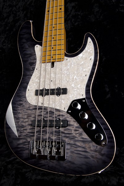 J5 Bass - Maple Top #3563, Charcoal Burst, Gros Vintage J5 pickups
