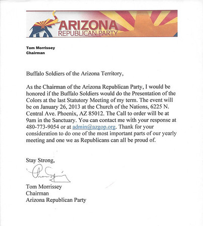 January 26, 2013   Arizona Republican Party Statutory Mtg.  Post Colors.  (Pictures pending)