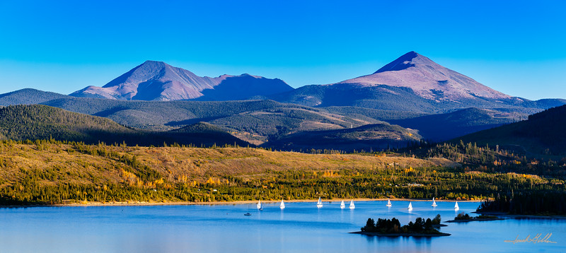 Sailboats on Lake Dillon with Mt. Guyot and Bald Mountain