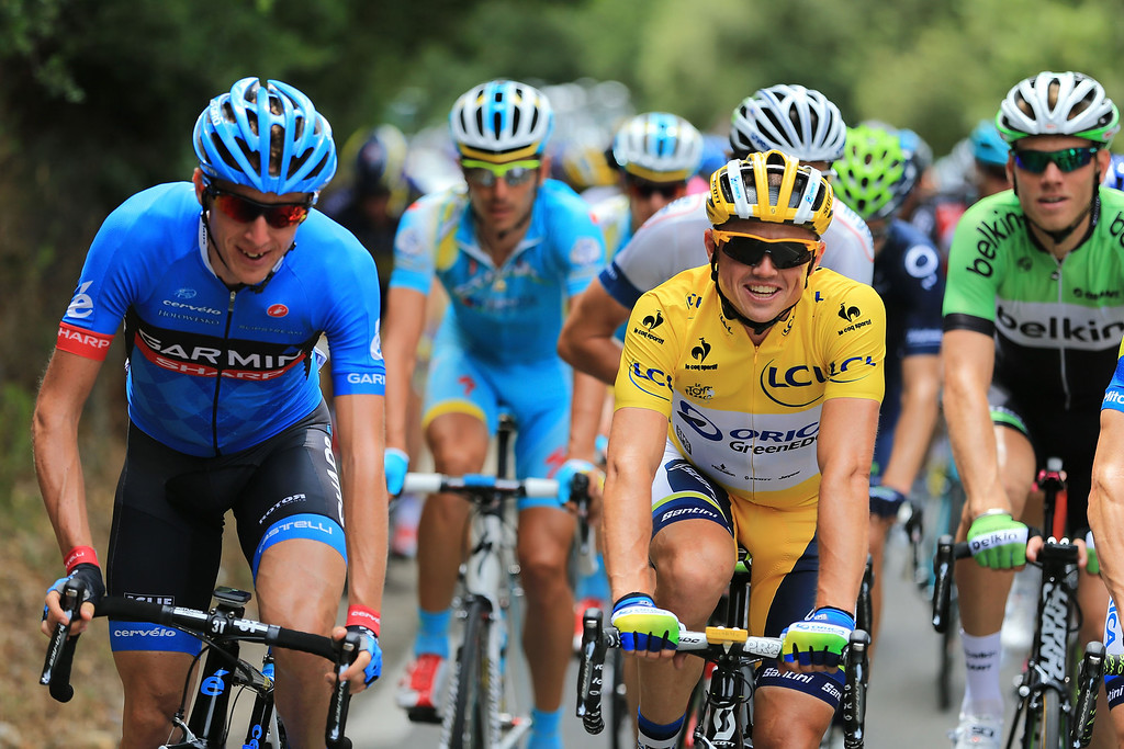 . Simon Gerrans of Australia and Team Orica Greenedge (yellow)  in action during stage five of the 2013 Tour de France, a 228.5KM road stage from Cagnes-sur-mer to Marseille, on July 3, 2013 in Marseille, France.  (Photo by Doug Pensinger/Getty Images)