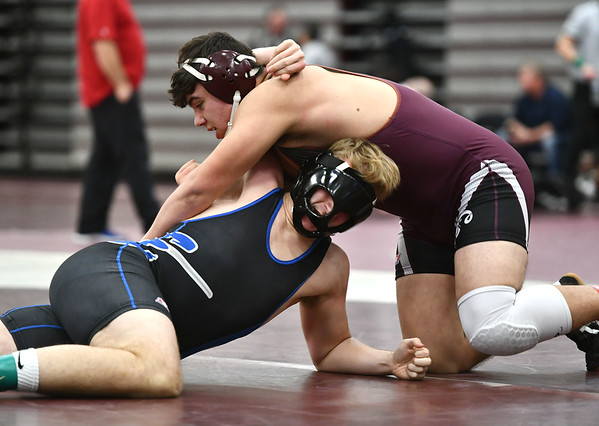 1/4/2020 Mike Orazzi | StaffrBristol Central's Jakob Salinas and Bristol Eastern's Logan Meyer in a 195 pound match at Saturday's wrestling tournament at Bristol Central High School. r