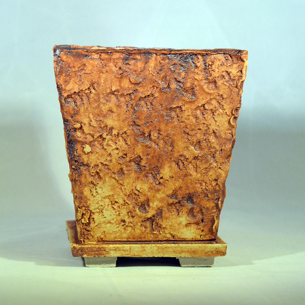 Iron oxide on lava impressed pot 4.25 x 4.25 x 5 sold