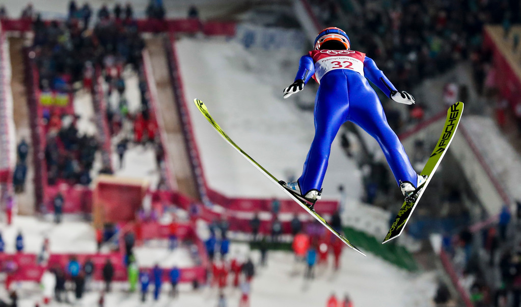 . Yuki Ito, of Japan, during the women\'s normal hill individual ski jumping competition at the 2018 Winter Olympics in Pyeongchang, South Korea, Monday, Feb. 12, 2018. (AP Photo/Dmitri Lovetsky)