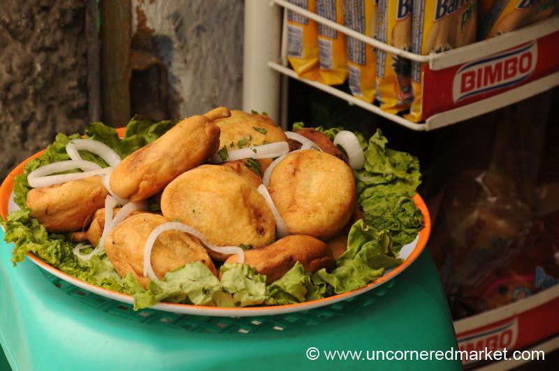 Guatemalan Food, Fresh Chiles Rellenos - Antigua, Guatemala