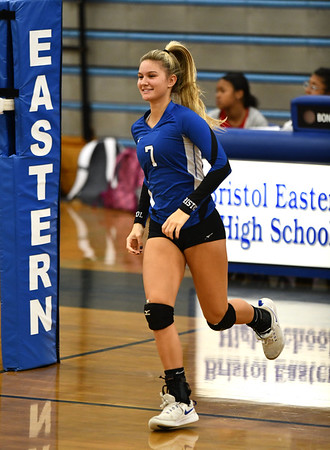 11/1/2019 Mike Orazzi | StaffrBristol Eastern's Zoe Lowe (7) during Friday night's girls volleyball match with Lyman Memorial in Bristol.