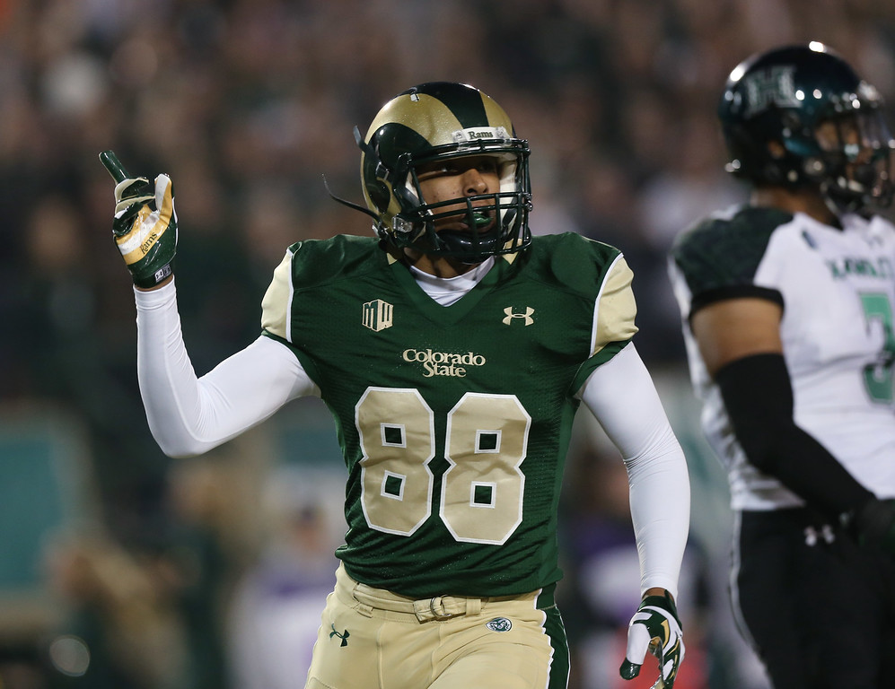 . Colorado State wide receiver Elroy Masters Jr. celebrates after his touchdown reception against Hawaii in the first quarter of an NCAA college football game in Fort Collins, Colo., on Saturday, Nov. 8, 2014. (AP Photo/David Zalubowski)