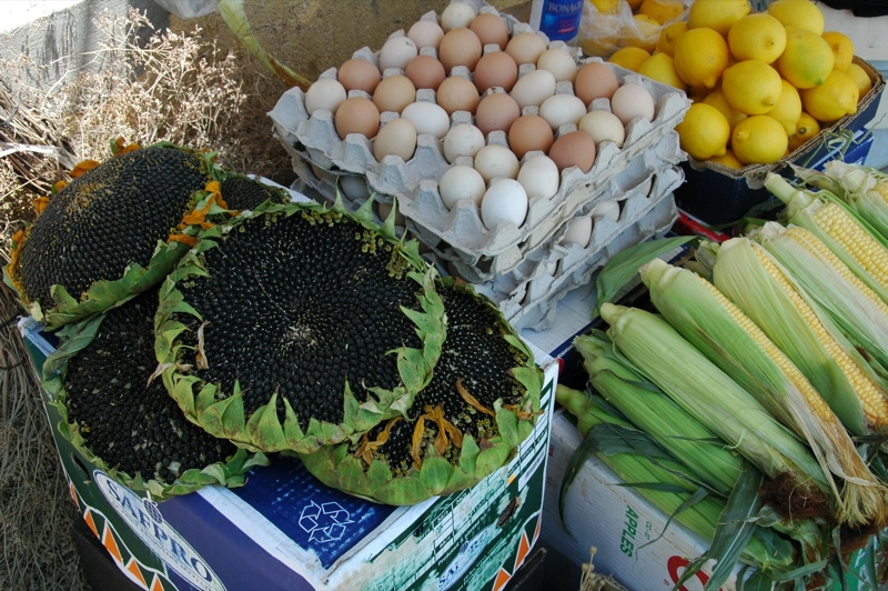 Eggs, Corns, Lemons at Market - Baku, Azerbaijan