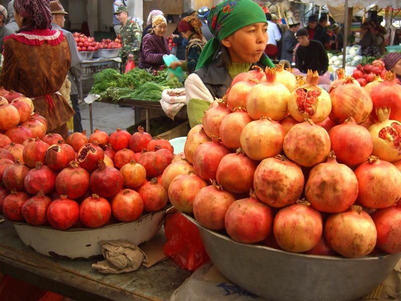 Pomegranates at Osh Market, Kyrgyzstan