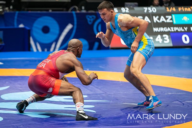 Quarterfinal: J`Den Cox (United States) over Nurgali Nurgaipuly (Kazakhstan)  •  Dec 8-0 - 2019 World Championships