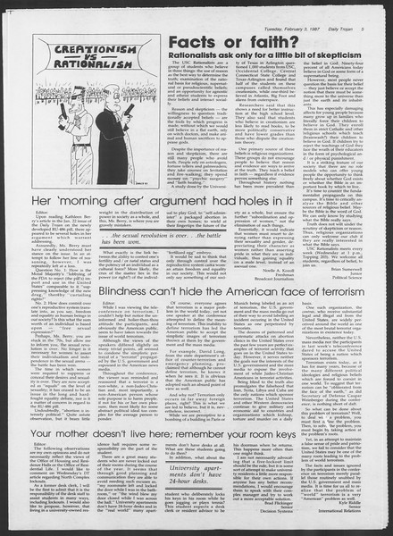 Daily Trojan, Vol. 103, No. 16, February 03, 1987