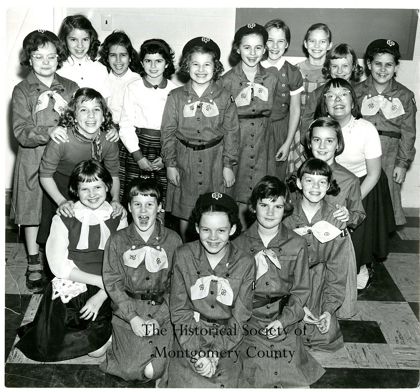 . This photo from the Historical Society of Montgomery County shows the Valley Forge Girls Scouts in 1955.