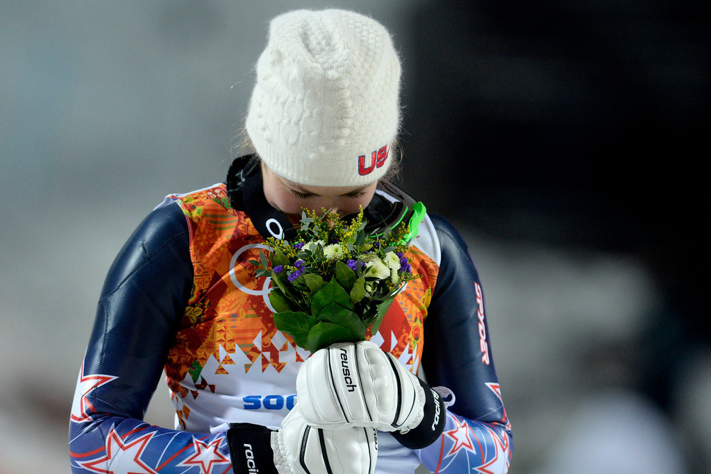 . KRASNAYA POLYANA, RUSSIA - FEBRUARY 20: Gold medalist American Mikaela Shiffrin reacts to winning ladies\' slalom run 2. Sochi 2014 Winter Olympics on Friday, February 21, 2014 at Rosa Khutor Alpine Center. (Photo by AAron Ontiveroz/ The Denver Post)