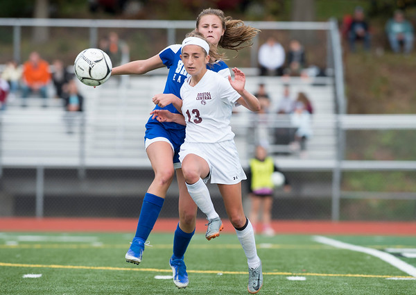 10/08/19 Wesley Bunnell | StaffrrBristol Central girls soccer defeated Bristol Eastern 1-0 at Bristol Eastern High School on Tuesday afternoon. Bristol Eastern's Ciara Collins (11) and Bristol Central's Rachel Wygant (13).
