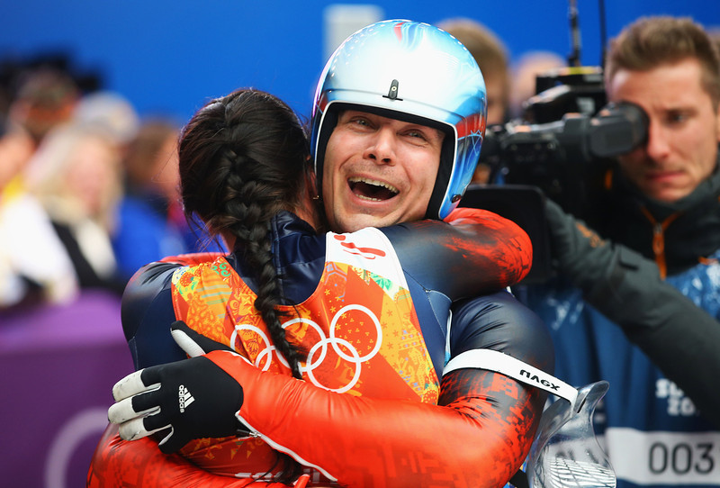 . Tatyana Ivanova (L) and Albert Demchenko of Russia celebrate during the Luge Relay on Day 6 of the Sochi 2014 Winter Olympics at Sliding Center Sanki on February 13, 2014 in Sochi, Russia.  (Photo by Doug Pensinger/Getty Images)