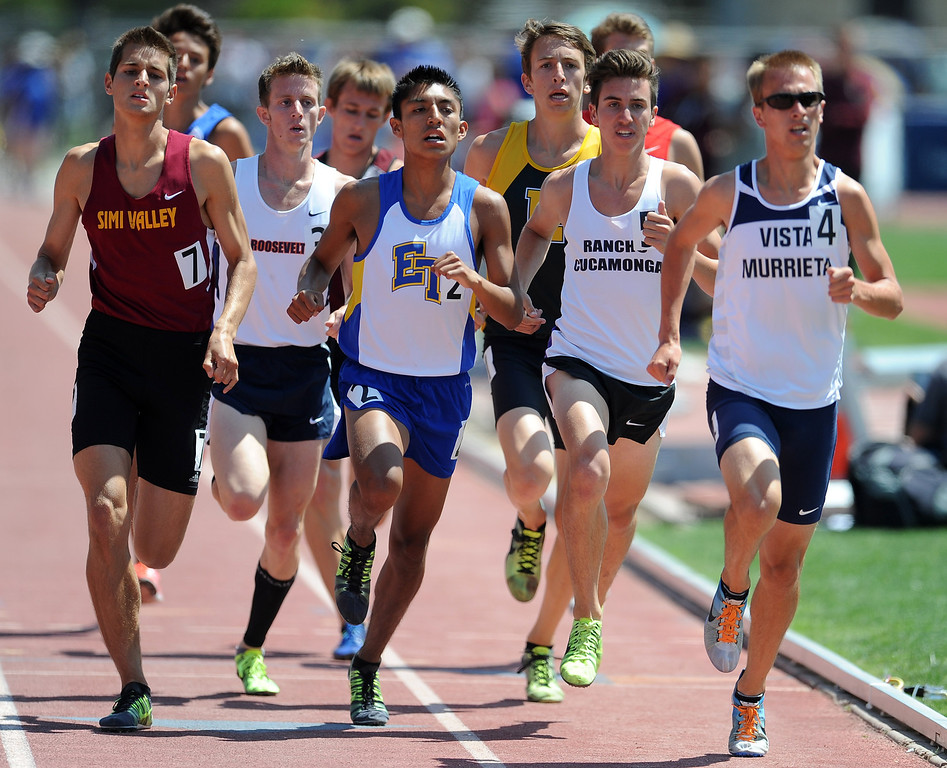 . Rancho Cucamonga, second from right, in the 1600 meter race during the CIF-SS track & Field championship finals in Hilmer Stadium on the campus of Mt. San Antonio College on Saturday, May 18, 2013 in Walnut, Calif.  (Keith Birmingham Pasadena Star-News)