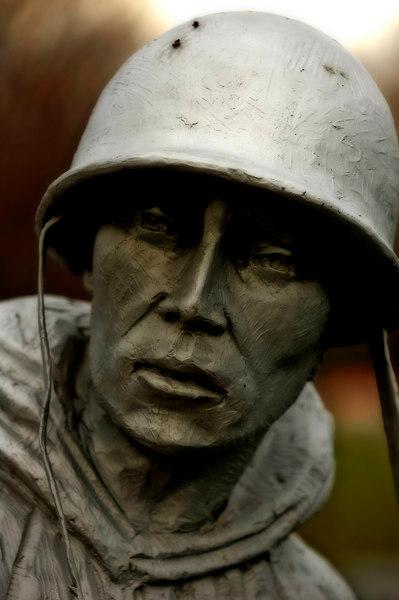 Soldier at Korean War Memorial in Washington DC