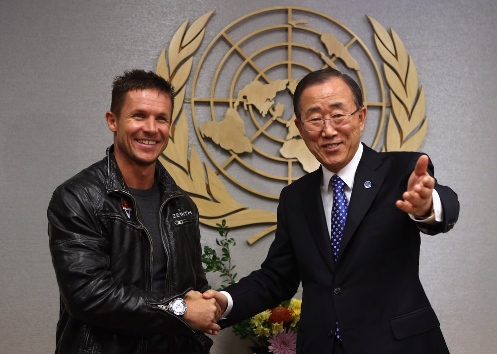 . UN Secretary-General Ban Ki-moon (R) meets with Austrian skydiver Felix Baumgartner at the United Nations headquarters on October 23, 2012 in New York City. Baumgartner jumped out of a balloon from 128,000 feet above New Mexico, breaking the record for the highest ever freefall, and was the first skydiver to break the sound barrier.  Felix Baumgartner ranked as Google\'s sixth most searched trending person of 2012. (Photo by John Moore/Getty Images)