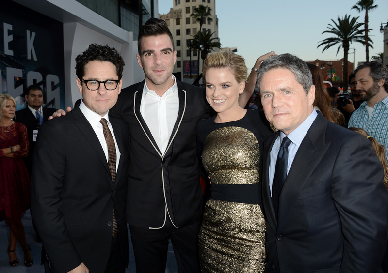 """. Director/Producer J.J. Abrams, actors Zachary Quinto, Alice Eve and Chairman and CEO of Paramount Pictures Brad Grey arrive at the Premiere of Paramount Pictures\' \""""Star Trek Into Darkness\"""" at Dolby Theatre on May 14, 2013 in Hollywood, California.  (Photo by Kevin Winter/Getty Images for Paramount Pictures)"""