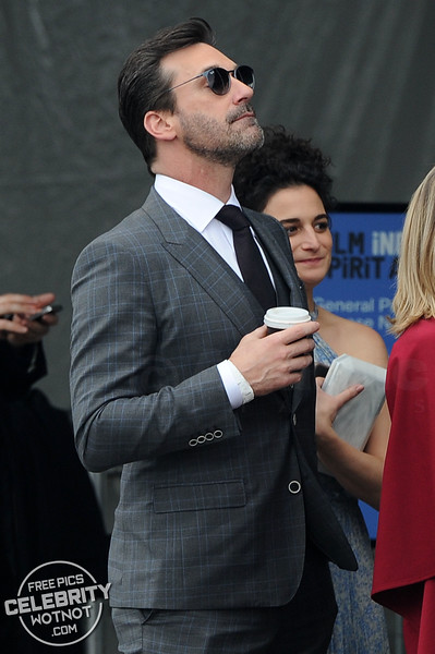 EXCLUSIVE: Stuck In Line Jon Hamm Gets A Kiss From Jenny Slate Sipping A Coffee, LA