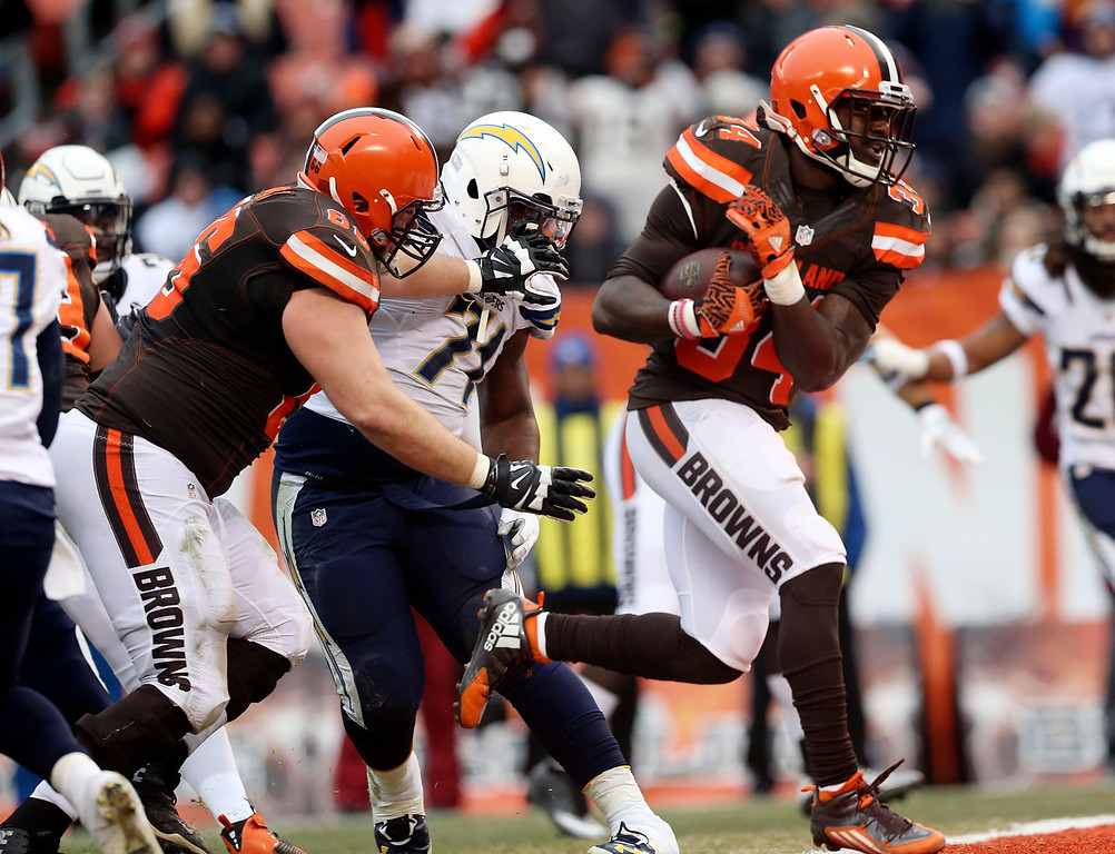 . Cleveland Browns running back Isaiah Crowell (34) runs for a four yard touchdown in the first half of an NFL football game against the San Diego Chargers, Saturday, Dec. 24, 2016, in Cleveland. (AP Photo/Aaron Josefczyk)