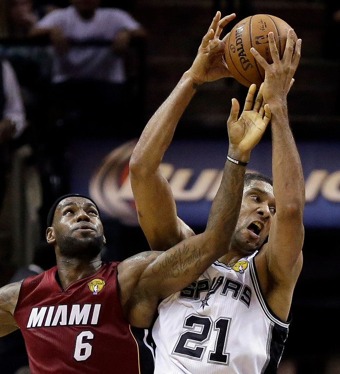 . Miami Heat forward LeBron James (6) defends against San Antonio Spurs forward Tim Duncan (21)  during the first half in Game 1 of the NBA basketball finals on Thursday, June 5, 2014, in San Antonio. (AP Photo/Eric Gay)