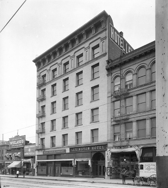 Exterior view of the Lexington Hotel on Main Street, looking south from Winston Street, ca.1905