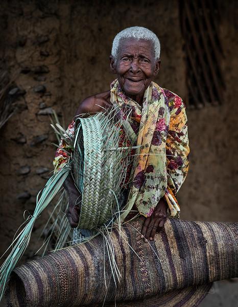 Portrait of an elderly lady in a small Muslim, fishing community, south of Pangani.  Tanzania, 2019