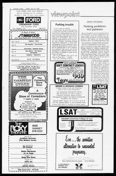 Summer Trojan, Vol. 89, No. 10, July 18, 1980