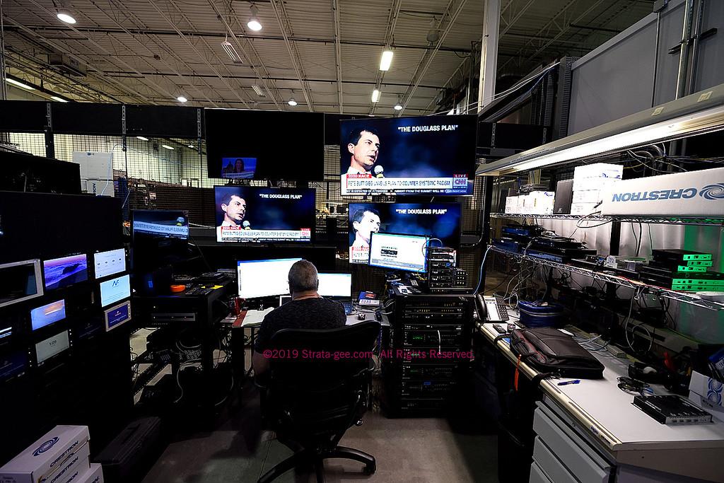 Crestron engineer testing an AV framework
