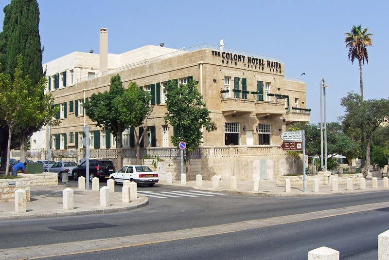 1-The Colony Hotel is over 100 years old and was a hotel in its early years. My very quiet room was on the far side of the top floor (light-colored stone)— a floor that was added in the 2005-2006 preservation/renovation. The foreground avenue is Sderot Ben Gurion. The cars are parked on Mordechai Anielewicz St.