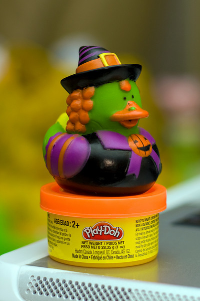 We were impressed at what people were giving away this Halloween.  Julia got this rubber duck witch and play-doh.