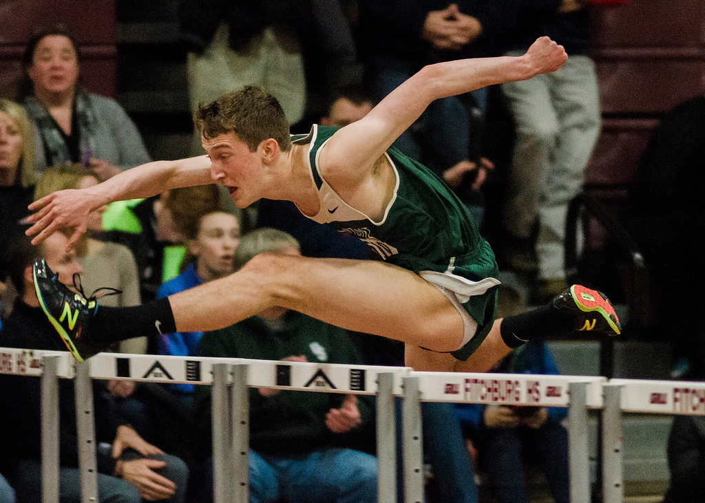 . Oakmont\'s Ben Telicki competes during the track meet at Fitchburg High School on Friday, February 3, 2017. SENTINEL & ENTERPRISE / Ashley Green