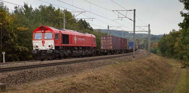 Crossrail DE6313 with a westbound intermodal in Buschhausen.