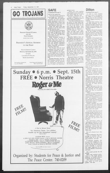 Daily Trojan, Vol. 116, No. 9, September 13, 1991