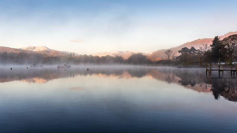 Misty morning on Windermere lake
