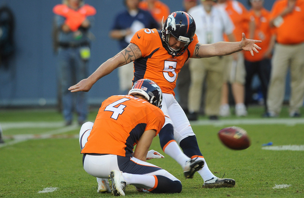 . DENVER, CO - AUGUST 23: Matt Prater makes a field goal in the first quarter of the preseason game against the Houston Texans at Sports Authority Field at Mile High on Saturday, August 23, 2014 in Denver, Colorado.  (Photo by Steve Nehf/The Denver Post)