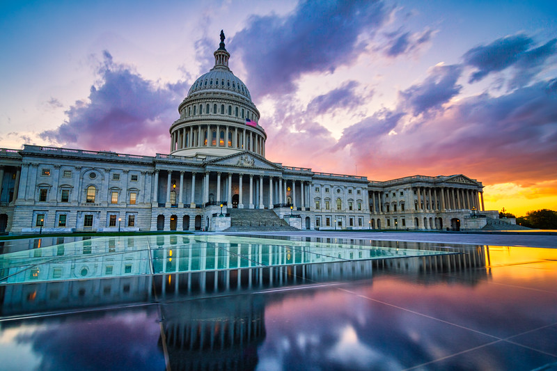 Dramatic sunset over the US capitol in Washington DC