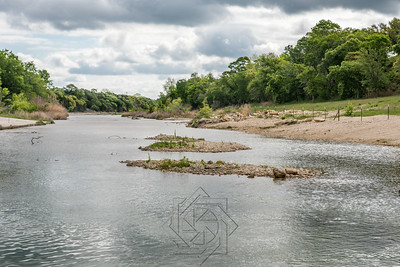 Low profile view of river along Texas highway