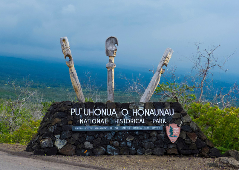 Say that properly 20 times and I'll call you Hawaiian. We Haoles call it the Place of Refuge. Link below to the  Pu`uhonua O Hōnaunau State Park. Fascinating back story, go read about it.  LINK: http://www.nps.gov/puho/historyculture/index.htm
