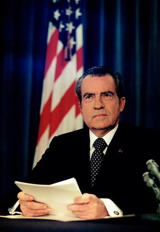 . U.S. President Richard Nixon, as he announces the end of the Vietnam war, declaring a cease-fire, Jan. 23, 1973. (AP Photo)