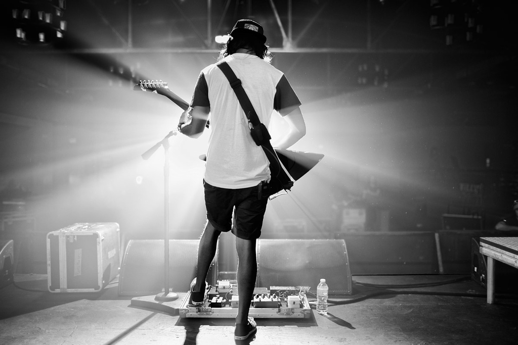 Vic Fuentes sound checking at The Warehouse live in Houston, Texas