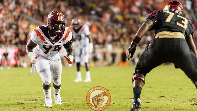 Trevon Hill prepares to rush agains the FSU offense in the matchup between Virginia Tech and Florida State at Doak Campbell Stadium, Monday, Sept. 3, 2018. (Photo by Cory Hancock)