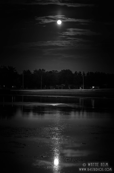 Moon Over Water - Black & White Photography by Wayne Hein