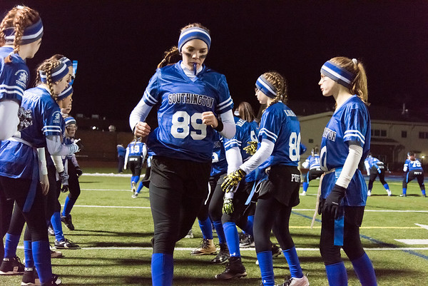 11/19/18 Wesley Bunnell | Staff Southington powder puff football vs Rocky Hill on Monday night at Southington High School. Victoria Sperry (89).