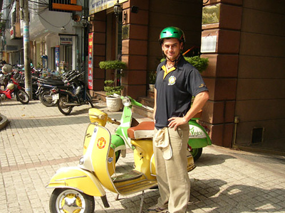 Vintage Vespas - an interesting way to see the back streets of Saigon. <br /> Experience recommended.