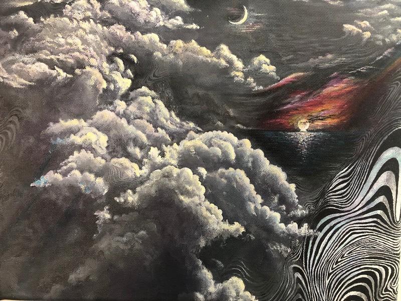 """Forensic Skies"" (acrylic on canvas) by Kellen Kozlowski"