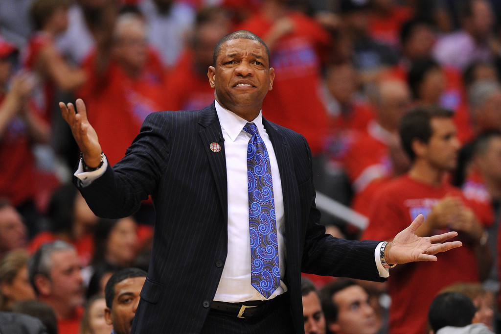 . Clippers coach Doc Rivers questions a call, Thursday, May 15, 2014, at Staples Center. (Photo by Michael Owen Baker/Los Angeles Daily News)