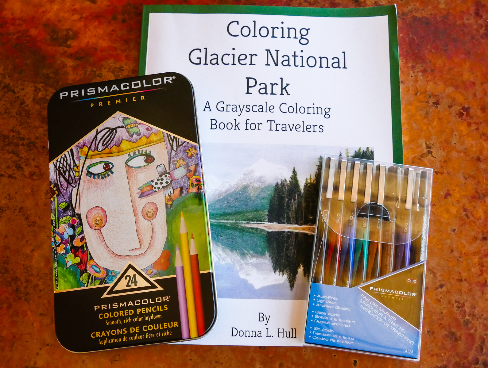 Coloring supplies to take on a trip. Relax and fight boarding by coloring during travel delays.